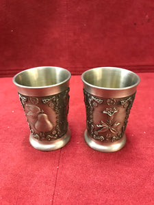 Barware, Germany, Zinn Becker, Pewter Shot Glasses-Set of Two
