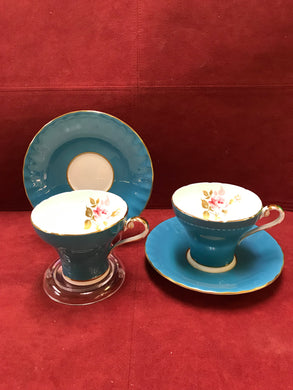Aynsley, England. Cup and Saucers . Turquoise with Pink Rose