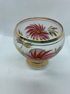 Czechoslovakia, hand painted Glass,  Cream and Sugar. Vintage