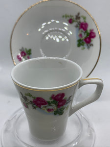 China. Demitasse Cup and Saucer. Pink and a White Roses.