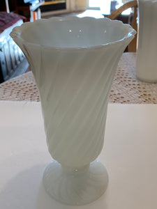"Vases.  Milk Glass. Footed Vase. Twisted Ribs.  5-1/4"" x 9""."