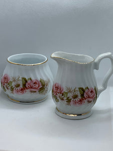 Royal Oak.  China.  Creamer and Open Sugar bowl.  Pink Rose and White Daisies