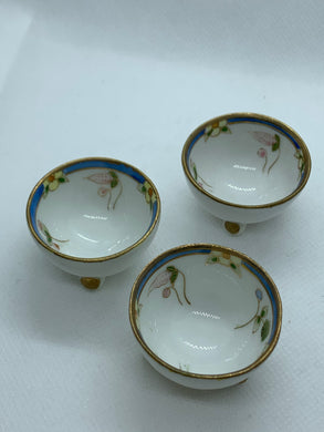 Salt Cellar. Japan. Nippon.  3 footed Salt Cellar- set of three (3)