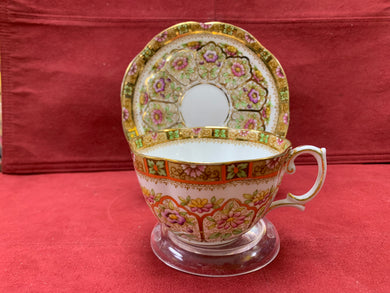 Royal Albert Court Crown China, England- Cup and Saucer. Multi-coloured pattern