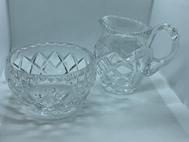 Crystal. Hand Cut. Creamer and Sugar Bowl. Diamond pattern. Vintage.