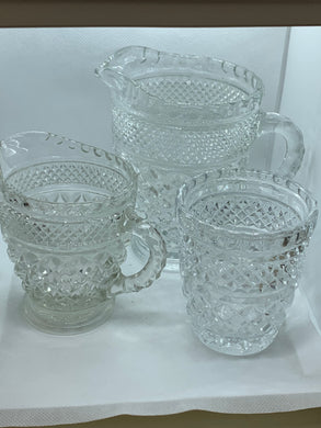 Pressed Glass, 3 piece- Milk Pitcher, Creamer and Sugar, Diamond Pattern