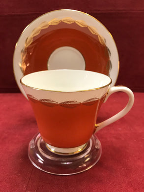 Aynsley, England. Cup and Saucer. Persimmion