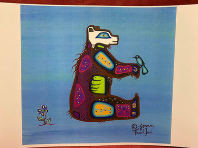 Print. Ojibwe Woodland Style.  Bear with Bird.    Jenner- Tauch Kwe