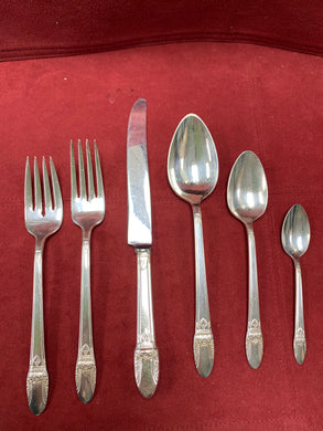 1847 Rogers Bros. Plated, 1937 Flatware-  FIRST LOVE.  8- 6 piece place settings plus extras