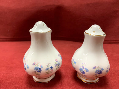 Royal Albert, England. Memory Lane, Salt and Pepper Shakers. Forget-Me-Nots