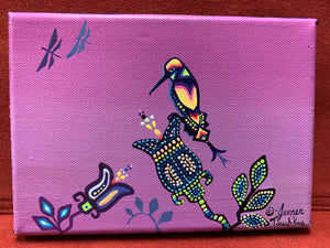 Original on Canvas. Ojibwe. Woodland Style.  Hummingbird and Dragon Flies.  By. Jenner Tauch Kwe