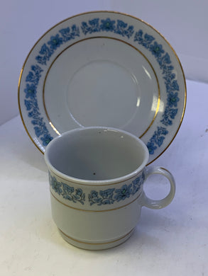 Germany.  Vintage. Demitasse Cup and Saucer.  Blue  Flowers