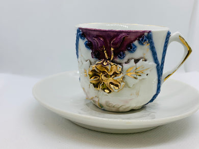 Made in Germany.  Applied flower, hand decorated. Demitasse Cup and Saucer