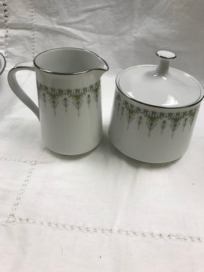 Noritake,Japan, Nitto Ware,  Forest Glen, Creamer and Sugar, Green and White