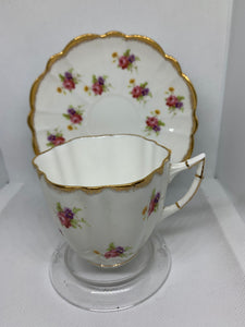 Victoria, England. Cup and Saucer.  Pink Roses