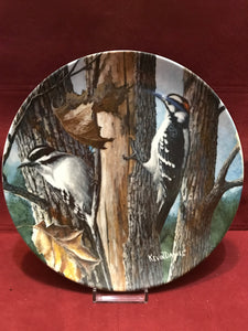 Collector Plate. The Downey Woodpecker, by Kevin Daniels. 9-1/4