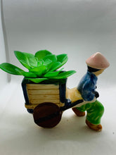 Load image into Gallery viewer, Planter. Japan. Oriental Man pulling cart.