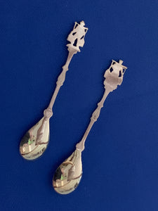 Demitasse Spoons. European, Antique. silver Plated, Figural Man and Woman