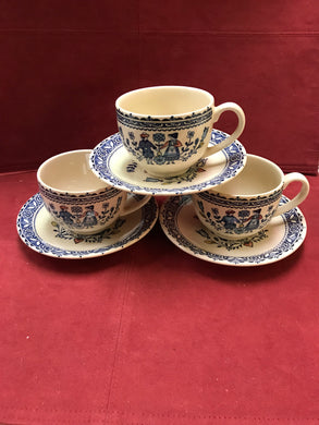 Johnson Bros. England. Old Granite, Hearts and Flowers. Cup and Saucer