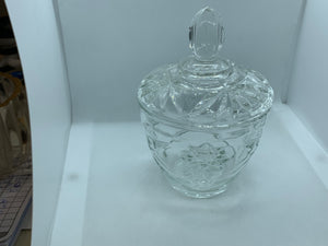 Pressed Glass, Clear, with sunburst , Creamer and Covered  Sugar,