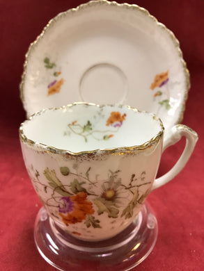 KPM, Germany, Cup and Saucer. Antique, Floral
