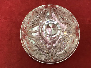 Butterdish, Cheese Keepers, Bohemian Crystal, Large Butter Dish, Round, Pinwheel Pattern
