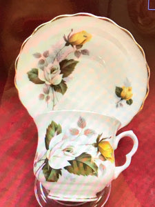 Hamilton, England. Cup and Saucer. Yellow and White Roses