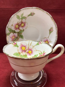 Royal Albert Crown China. England. Cup and Saucer. Wild Roses