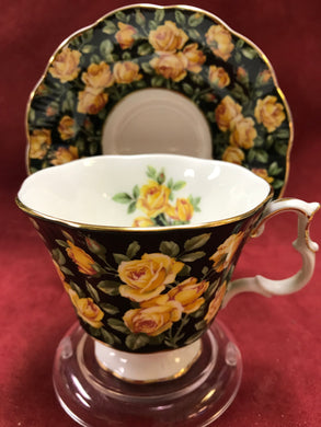 Royal Albert, England. Cup and Saucer. Merrie England, Yellow Roses on Black