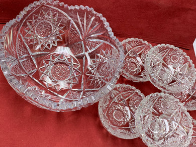 Pressed Glass, Bowl with 6 fruit nappies. Sunburst and star pattern.