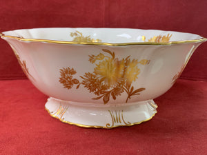 "Hammersley, England. Golden Cornflower-5129, Footed Serving Bowl. 9-1/2"" x 4"""