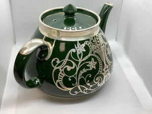 Gibsons, England, Tea Service, Hunter Green with Silver Overlay
