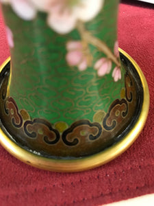 Vase.Oriental, Closionne, Mirrored Pair, Cherry Blossoms and Bird
