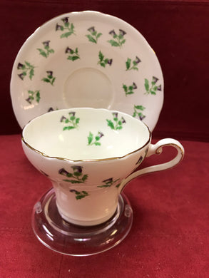 Aynsley, England. Cup and Saucer. Scotch Thistles