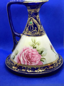 Pitcher, Nippon, Conical Shape, Cobalt with Pink Roses- RARE.