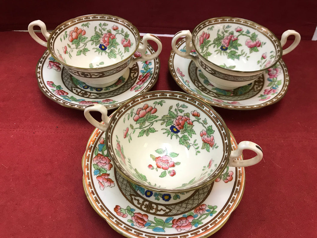 Aynsley. England. Indian Tree, Cream Soup Bowls with Underplates.