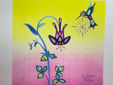 Print. Ojibwe- Woodland Style.  Hummingbird with Bell Flower.   By. Jenner Tauch Kwe.
