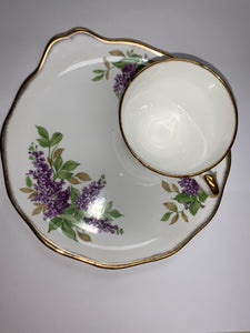 Salisbury, England. Teacup and snack plate. Purple Lilacs