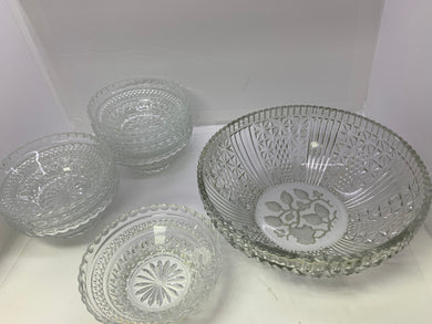 Pressed Glass- Dessert.  Unmarked.  Vintage.  Serving Bowl with 8 nappies