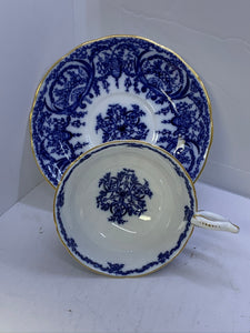 Coalport,  England.  Cup and Saucer.   Chintz.  Cobalt Blue and White