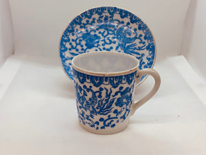 Unmarked.  Blue and White. Demitasse Cup and Saucer