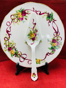 Cake Plate- England.  Royal Albert. Old Country Roses.  Cake Plate and Server