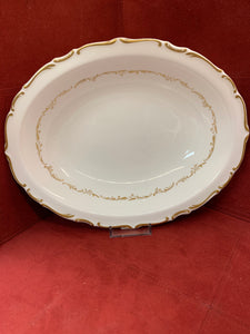 Royal Doulton.  England.  Richelieu. Oval Vegetable Dish.  White with Gold