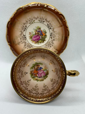 Waldershaf, Bavaria.  Courting Couples. (Set of 2). Demitasse Cup and Saucer