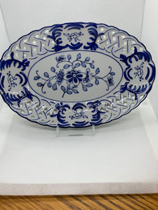 Collector Plate. Unmarked. Oval. Floral pierced work.