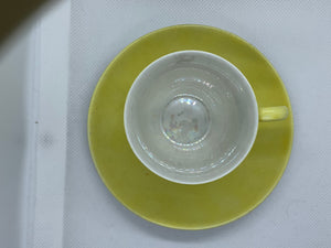GDA. Limoge. France. Demitasse Cup and Saucer. Yellow and Ivory/Lustre