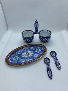 Salt Cellar, Russia. Enamelled.  4 Pc set