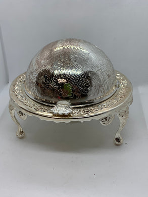 Queen Anne. England.  Silver Plated Butter Dish. With glass insert.  Domed