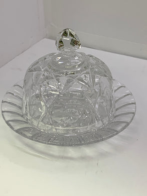 Crystal. Unmarked. Cross ad Olive Pattern. Round Butter Dish with Domed Lid.
