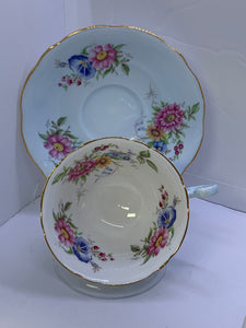 Foley. England. Cup  and Saucer. Mixed Floral-  Pink, Blue and Yellow./ Powder Blue